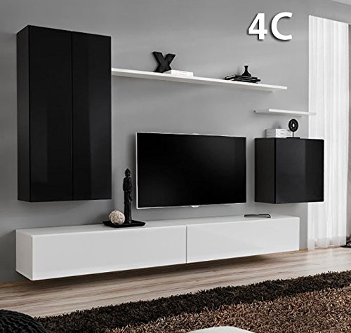 Conjunto Muebles de salón Berit Colgante Negro Blanco Modelo ...