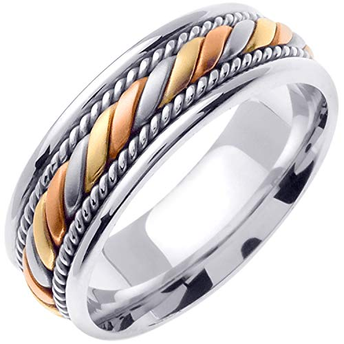 (14K Tri Color Gold Braided Coil Twist Men's Comfort Fit Wedding Band (7mm) Size-13c1)