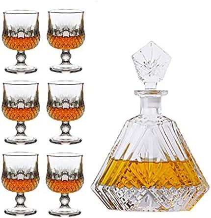 Juego de vasos de whisky con 6 vasos de whisky para whisky o whisky para hombre (color transparente, tamaño: 7 piezas)
