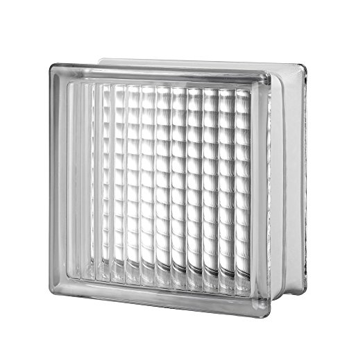 - Quality Glass Block 8 x 8 x 4 Cross Ribbed Glass Block