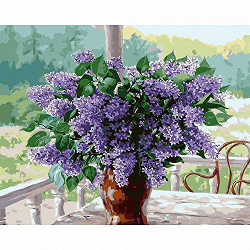 Toopia DIY Painting by Numbers Lilac Flowers Picture by Numbers Kit Coloring On Canvas Elegant Wall Art Painting (16x20Inch)]()