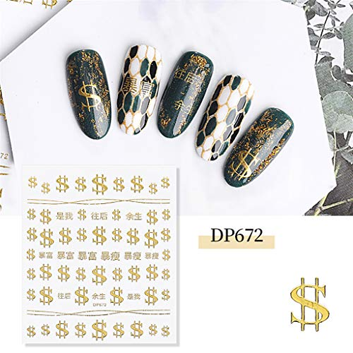 Antty 3D Nail Sticker,Net Red Explosion Star Moon Nail Sticker Adhesive Magic Gold (D)]()