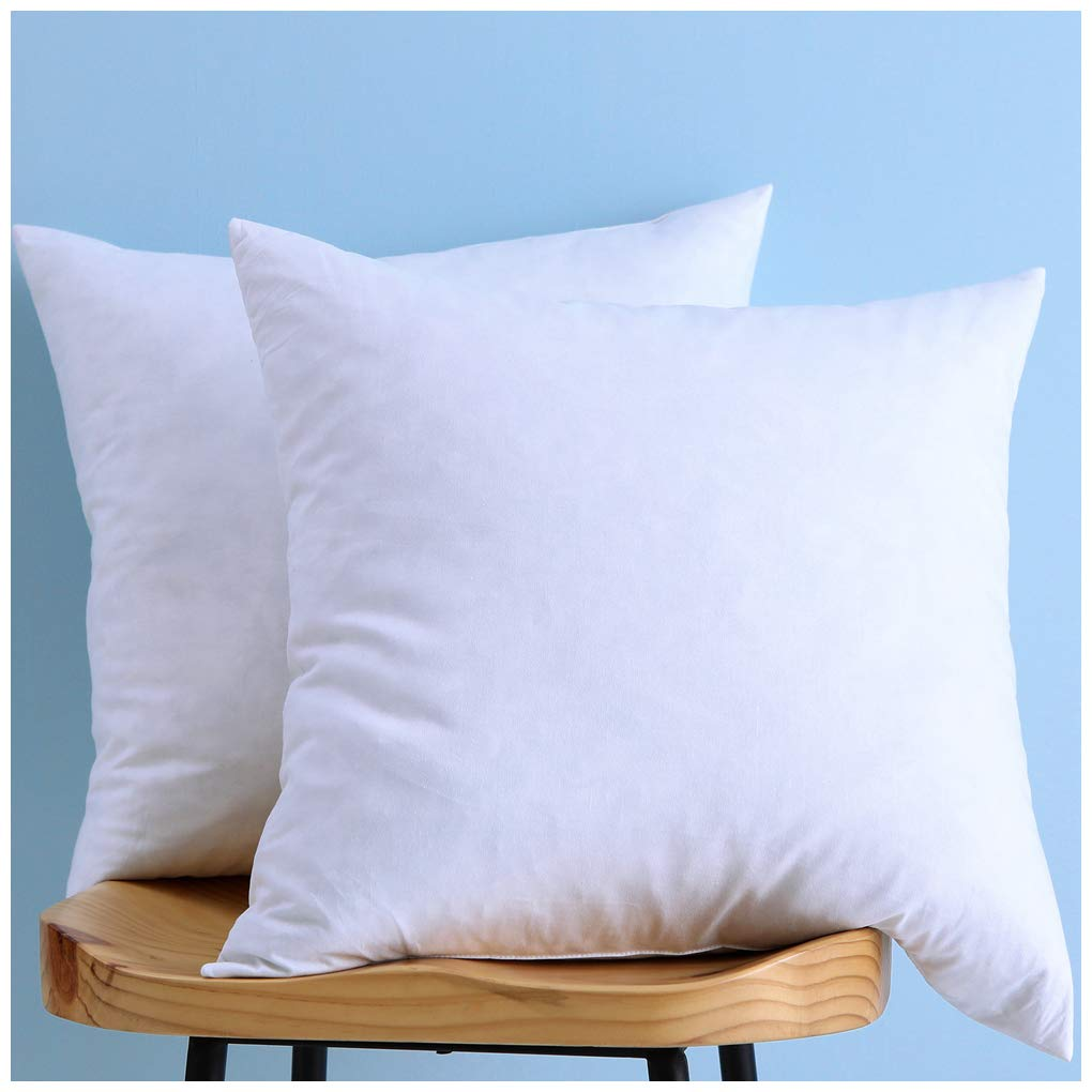 Set of 2, Down and Feather Throw Pillow Insert, 100% Cotton, 26x26 Inch