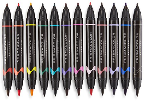 Marker Prismacolor Double End - Prismacolor 1776353 Premier Double-Ended Art Markers, Fine and Brush Tip, 24-Count with Carrying Case