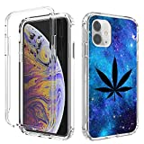iPhone 11 Case,Amook Shockproof Hybrid Hard PC & Soft TPU Bumper Cover Clear with Design Dual Layer Protective Case for Apple iPhone 11 6.1 Inch 2019-Transparent/Galaxy Space Weed