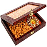 Ghasitaram Gifts Diwali Gifts Diwali Hamper- Lazer Orange Wooden Jewellery Almond and 2 T-lites Box