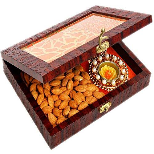 Ghasitaram Gifts Diwali Gifts Diwali Hamper- Lazer Orange Wooden Jewellery Almond and 2 T-lites Box by Ghasitaram Gifts
