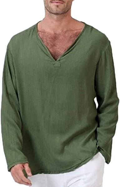 Camiseta De Verano para Hippie Hombre De Festiva Camisa Ropa Tailandesa De Lino De Algodón Cuello