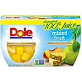 Dole Fruit Bowls, Mixed Fruit in 100% Juice, 4 Ounce (Pack of 4)