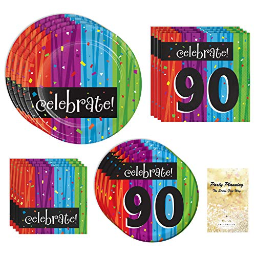 90th Birthday Party Supply Pack, Colorful Milestone Celebrations Design, 16 Guests, Bundle of 4 Items: Includes Dinner Plates, Dessert Plates, Lunch Napkins and Beverage Napkins ()