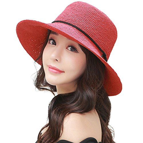 - Siggi Ladies Floppy Summer Sun Beach Straw Hats SPF Foldable Bucket Cloche Hat 56-59cm Red