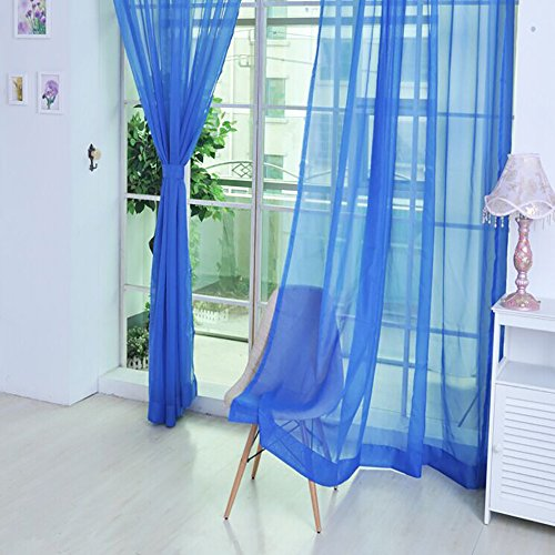 AMOFINY Home Textiles 1 PCS Pure Color Tulle Door Window Curtain Drape Panel Sheer Scarf Valances from AMOFINY-Home Decoration