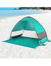 Honeytecs Automatic Pop Up Beach Tent Cabana Portable UPF 50+ Sun Shelter Fishing Hiking Canopy