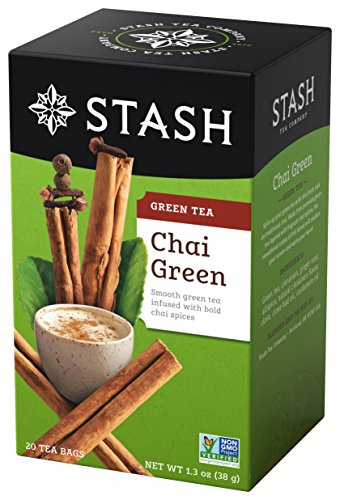 (Stash Tea Green Chai Tea 20 Count Tea Bags in Foil (Pack of 6) Individual Spiced Green Tea Bags for Use in Teapots Mugs or Teacups, Brew Hot Tea or Iced Tea, Add Milk for Chai Latte)