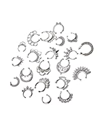 Fityle 21pcs Illusion Loop Nose Hoop Rings Fake Septum Clicker Non-Piercing Fashion