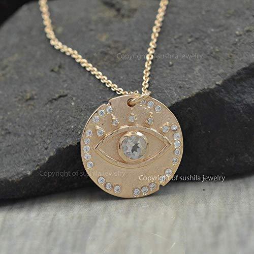 Genuine Moonstone Gemstone Evil Eye Charm Designer Pendant Handmade Necklace Solid 14k Yellow Gold Jewelry