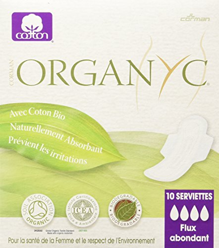 ORGANYC Hypoallergenic 100% Organic Cotton Pads Night Wings, 10-count Boxes (Pack of 2) (Organic Menstrual Pads)