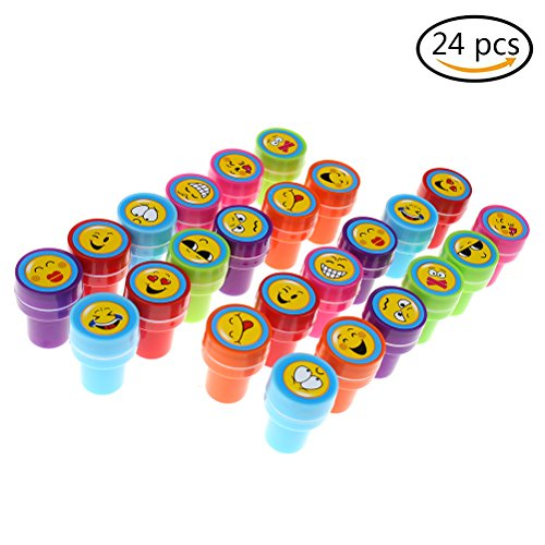 Outlet 24Pcs Self Inking Stamps Plastic Toy Stamp Set Multi Colour Bright Smiley Emoji Ink