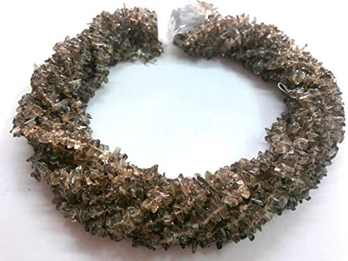 GemAbyss Beads Gemstone 5 Strand of Natural Smoky Quartz Chip Beads, Natural Smoky Quartz Gemstone Chips, Chip Beads, Smoky Necklace Beads, 4/6 mm, 34 Inch Code-MVG-2519
