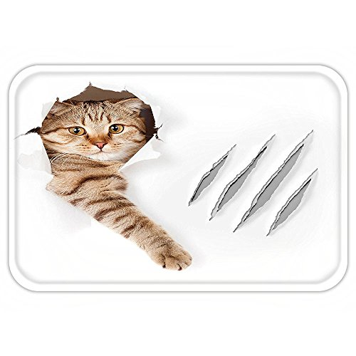 Kittens Cute In Costumes (VROSELV Custom Door MatAnimal Funny Cat in Wallpaper Hole with Claw ScratchePlayful Kitten Cute Pet Picture Brown White)