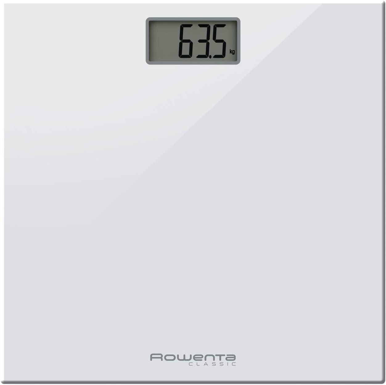 Rowenta Classic BS1131 - Báscula digital, con pantalla LCD, compacta, capacidad de 160 kg, plataforma de vidrio, apagado automático e incluye pilas