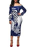 Mystry Zone Women's Sexy Bodycon Dress Leaf Printed Off Shoulder Long Sleeve Party Pencil Dresses