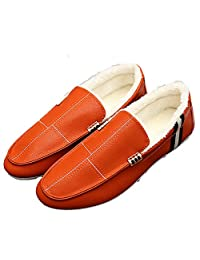 Men's New Winter Plus Velvet Loafers Lazy Set Foot Leather Shoes Peas For Driving