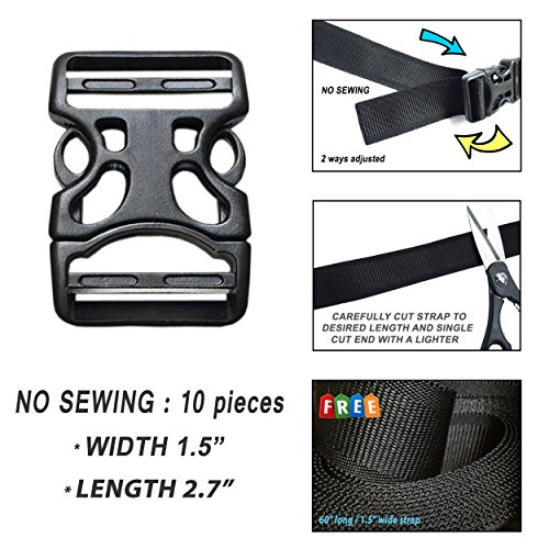 Plastic Buckles 1.5 Inch (10 pcs) - 2 Ways Flat Side Quick Release for Webbing, Fasteners Strap, Harness, Nylon Webbing. (NO SEWING). FREE with 1 Strap 60