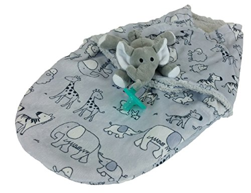 ool Baby/Infant Swaddle Wrap Nursery Blanket 2-Piece Bundle w/ BPA-Free Pacifier With Attached Plush Elephant / Newborn, 0-3 Months / Boys,Girls / Great Gift for Expecting Mothers (Infant Wool Blankets)