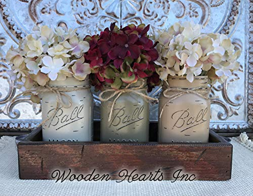 Mason Canning JARS in Wood Antique RED Tray Centerpiece with 3 Ball Pint Jar - Kitchen Table Decor - Distressed Rustic - Hydrangea Flowers (Optional) - THISTLE, PEWTER, COFFEE Painted Jars (Pictured) ()