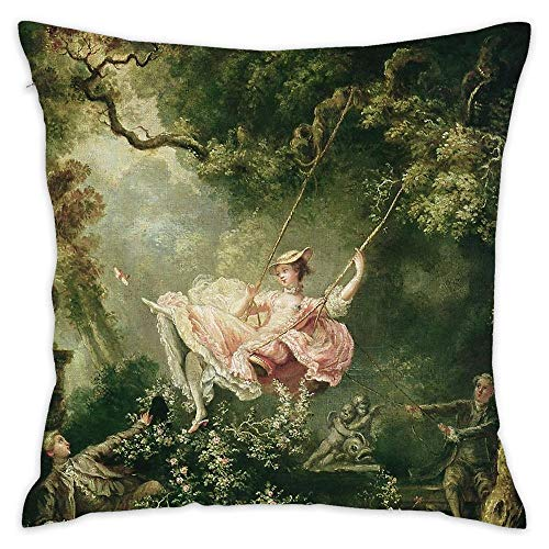 - Square Throw Pillow Cover Soft Cotton Pillow Cover Cushion for Home Sofa Car Decoration 18x18 inch - Jean-Honore Fragonard The Swing 18th Century