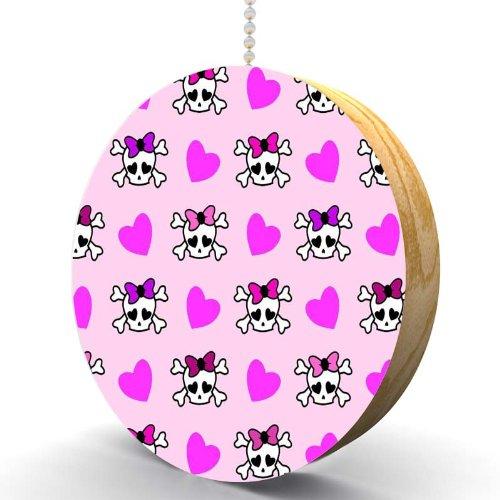 Girls Skulls and Hearts Hardwood Oak Fan / Light Pull