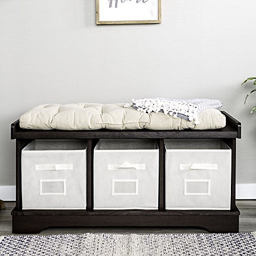 WE Furniture Wood Storage Bench with Totes and Cushion, 42