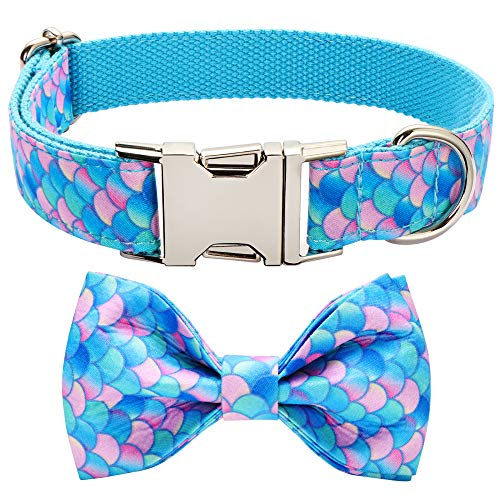 JCONEIL Bowtie Dog Collar and Cat Collar, Durable Adjustable and Comfortable Cotton Collar for Small Medium Large Dogs…