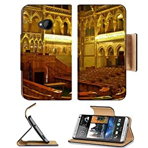Architecture Gold Hungary Interior View HTC One M7 Flip Cover Case with Card Holder Customized Made to Order Support Ready Premium Deluxe Pu Leather 5 11/16 inch (145mm) x 2 15/16 inch (75mm) x 9/16 inch (14mm) MSD HTC One Professional Cases Accessories O
