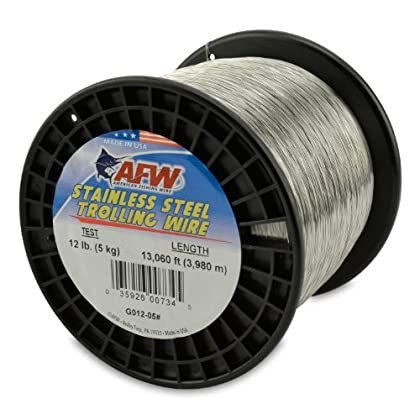 Image of American Fishing Wire Stainless Steel Trolling Wire, 12-Pound Test/0.30mm Dia/3980m Lead Core & Wire Line