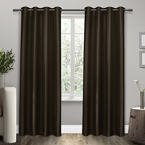 Espresso Drapes (Exclusive Home Curtains Shantung Faux Silk Thermal Grommet Top Window Curtain Panel Pair, Espresso, 54x84)