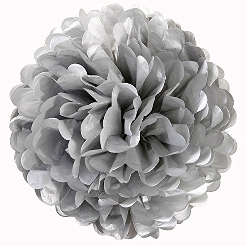 Silver Tissue Paper Flowers (10
