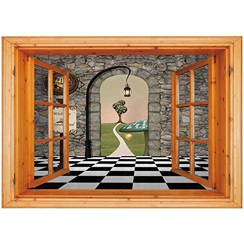 3D Depth Illusion Vinyl Wall Decal Sticker [ Alice in Wonderland,Welcome Wonderland Black and White Floor Tree Landscape Mushroom Lantern Decorative,Multi ] Window Frame Style Home Decor Art Removable