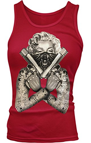 Amdesco Junior's Marilyn Monroe Gangster Guns Tattoos Tank Top, Red Large