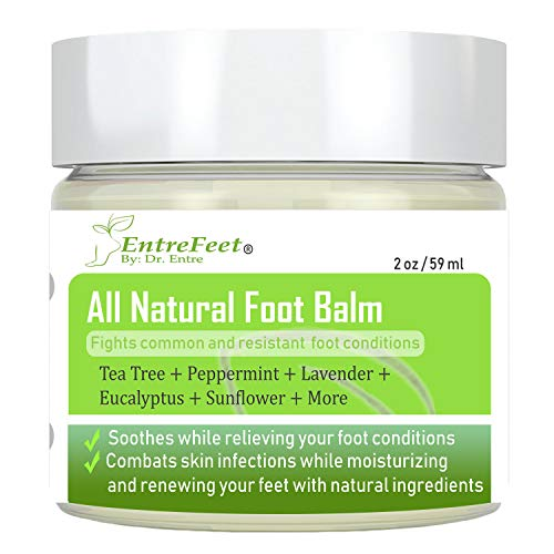 Dr. Entres Foot Balm: Organic Natural Hydrating Relief for Dry Cracked Heels, Callused Feet, Athletes Foot, Bunions, Fungal Infections, and More - Effective and Soothing - Satisfaction Guaranteed