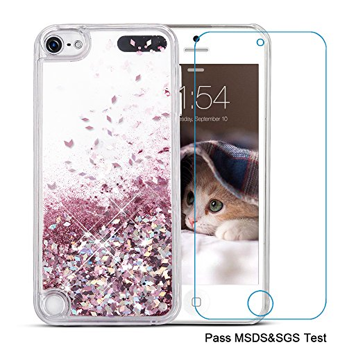 iPod Touch 5 Case,iPod Touch 6 Case, Maxdara[Screen Protector] Glitter Liquid Floating Bling Sparkle Quicksand Case for Girls Children Pretty Design for Apple iPod touch 5 6th Generation (Rosegold)