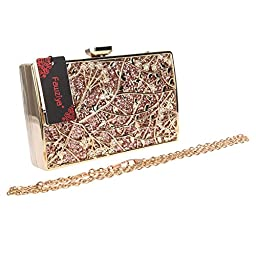 Fawziya Floral Handbags For Womens Purse Party Clutches-Champagne