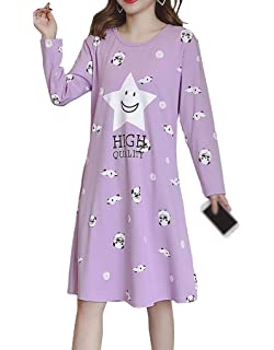 1824007021 Vopmocld Big Girls Long Dress Nightshirt Cute Dog Smiling Face Sleepwear  Nightgowns