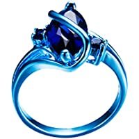 Ransopakul Marquis Cut Blue Sapphire Wedding Ring 10KT Blue Gold Filled Men/Women (7)