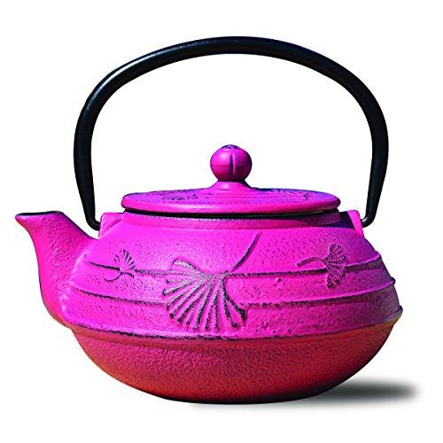 "Old Dutch 1033FS Cast Iron ""Ginkgo"" Teapot, 22 oz, Fuchsia"