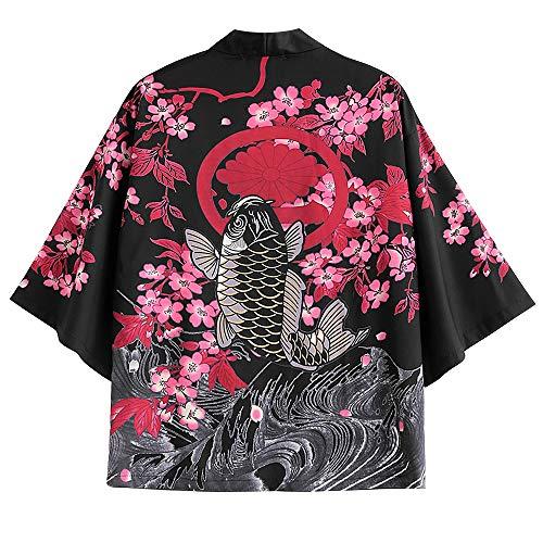 ZAFUL Men's Japanese Style Flower Fish Dragon Printed Kimono Front Open Jacket (Pink, L) (Mens Three Quarter Length Coat)