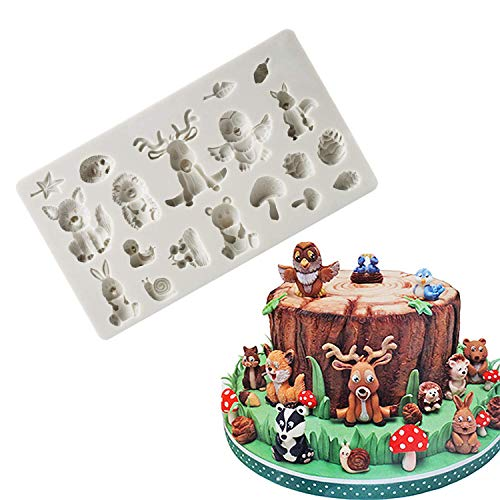 Fewo Forest Animals Fondant Molds Zoo Animal Silicone Mold for Chocolate Candy Gum Paste Polymer Clay Resin Sugar Craft Cake Cupcake Decorating Supplies (Squirrel Rabbit Sika Deer Hedgehog Mushroom) ()