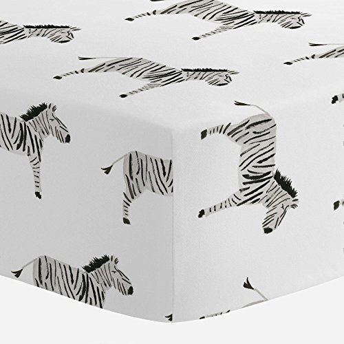 Carousel Designs Painted Zebra Crib Sheet - Organic 100% Cotton Fitted Crib Sheet - Made in The USA