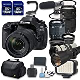 Canon EOS 80D DSLR Camera Bundle with Canon EF-S 18-55mm f/3.5-5.6 IS STM Lens + Canon EF 75-300mm f/4-5.6 III Lens + Preset 500mm f/8 Manual Focus Telephoto T-Mount Lens + 650-1300mm f/8-16 Lens
